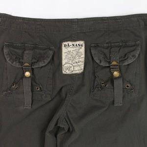 Da-Nang Pants - Da-Nang hunter green embroidered pants zip hem
